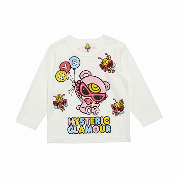 [SALE]MY FIRST HYSTERIC TEDDY MINI SWEET BALOONエンジェルコット天竺長袖Tシャツ