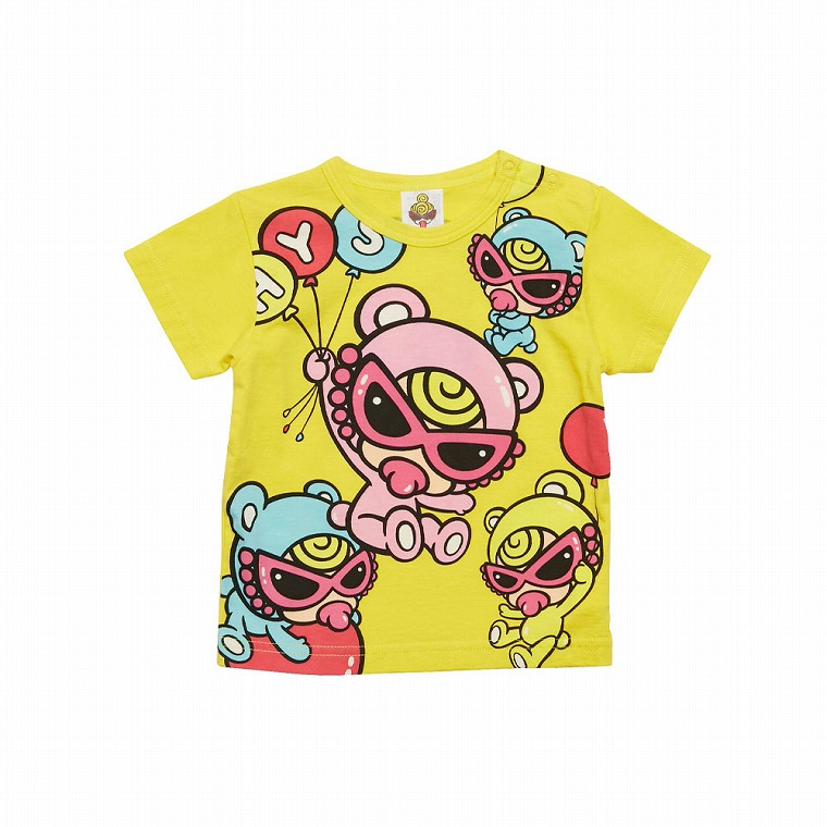 MY FIRST HYSTERIC TEDDY MINI SWEET BALOON パネルプリント半袖Tシャツ