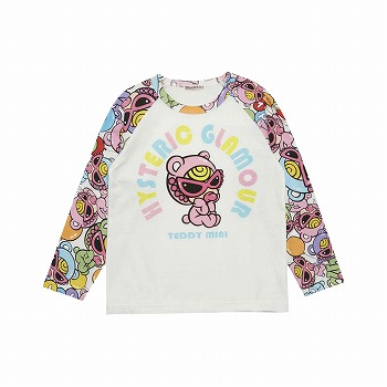 Hystericmini TEDDY MINI SWEET BALOON総柄ラグラン長袖Tシャツ