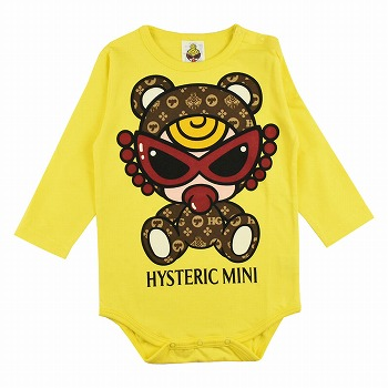 MY FIRST HYSTERIC TEDDY MINI MONOGRAM柄 長袖ロンパース