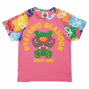 MY FIRST HYSTERIC TEDDY MINISUGAR HIGH総柄半袖ラグランTシャツ