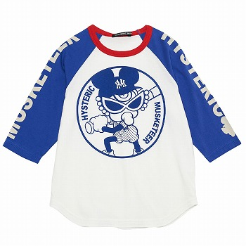 Hystericmini MASKETEER BASE BALL CLUB7分袖Tシャツ