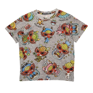 Hystericmini MONSTER TATTOO総柄 半袖Tシャツ