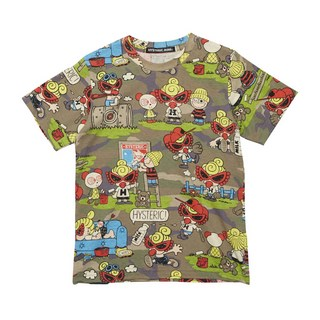 Hystericmini WOODLAND COMIC CAMOUFLAGE総柄 半袖Tシャツ