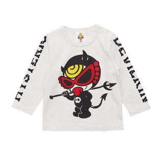 MY FIRST HYSTERIC HYSTERIC DEVILKIN MINI 袖プリント入り長袖Tシャツ