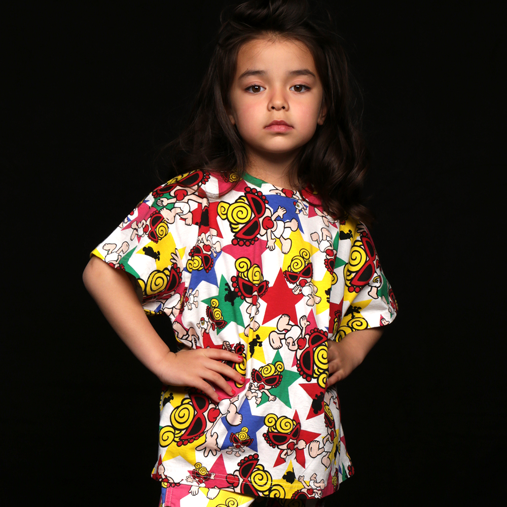 Hystericmini SUPER STAR WITH MINI総柄 BIG Tシャツ