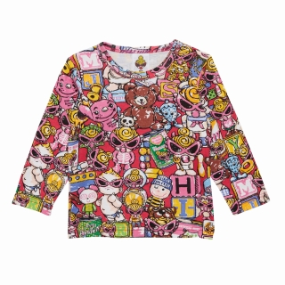 MY FIRST HYSTERIC オーガニックフライス HYSTERIC TOYLAND総柄 ロングTシャツ