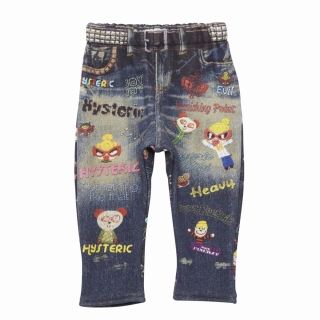 MY FIRST HYSTERIC PUNK KIDS総柄Like a Denim Viscotex 10分丈デニムパンツ