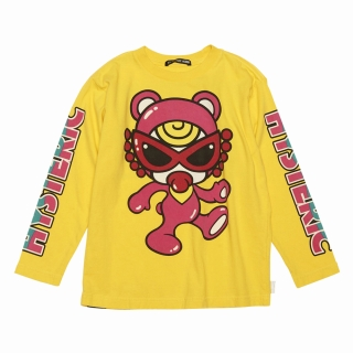 Hystericmini HYSTERIC BEARS袖プリント スーピマ天竺 長袖BIGTシャツ
