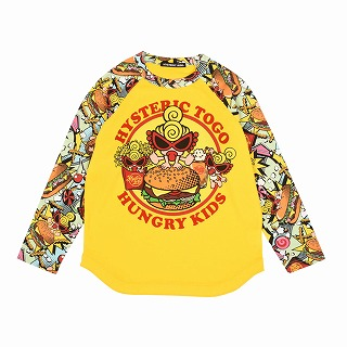 Hystericmini HYSTERIC TO GO HUNGRY KIDS ラグラン長袖Tシャツ