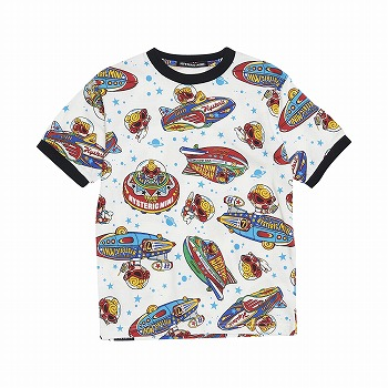 Hystericmini SPACE TOUR総柄 コーマ天竺リンガーTシャツ